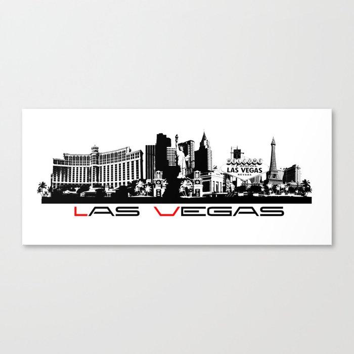 Las Vegas skyline black Canvas Print