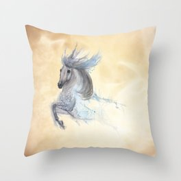 Dancing white horse Throw Pillow