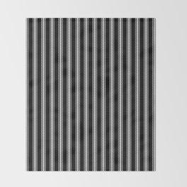 Black and White English Rose Trellis on Mattress Ticking Stripe Throw Blanket