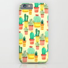 Hello! Colorful Watercolor Cactus and Succulent in Patterned Planters Slim Case iPhone 6s