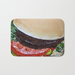 The Hamburger with Mustard, Pickle and Tomato Bath Mat