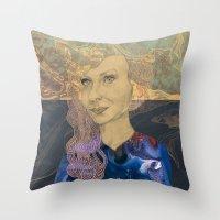 tina fey Throw Pillows featuring Tina by Nina Schulze Illustration
