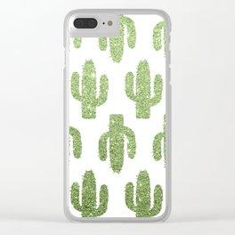 Glitter Cacti Clear iPhone Case