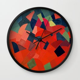 Grün-Rot Otto Freundlich 1939 Abstract Art Mid Century Modern Geometric Colorful Shapes Hard Edge Wall Clock