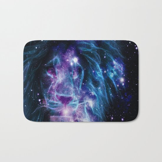 Leo Galaxy Lion : Purple Blue Bath Mat