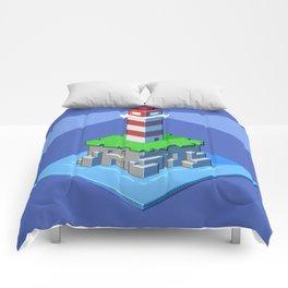 Lighthouse isometric pixel art Comforters
