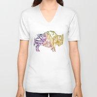 bison V-neck T-shirts featuring Bison. by Stefani Reeder