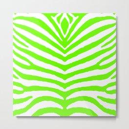 Neon Green and White Tropical Zebra Safari Stripes Metal Print