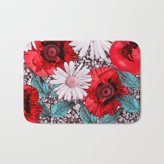 Red Poppies and margarites Bath Mat