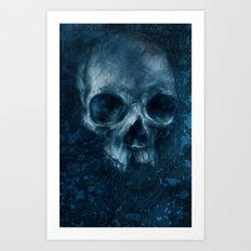 Blue Skull Waves Art Print