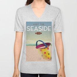Visit the Seaside travel poster Unisex V-Neck