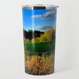 Golden Evening Light Across A Field Travel Mug