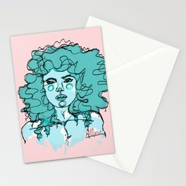 Curly Turquoise Stationery Cards
