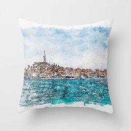 Aquarelle sketch art. Boat trip Rovinj. View to the city. Throw Pillow
