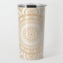 Gold Mandala Pattern Illustration With White Shimmer Travel Mug