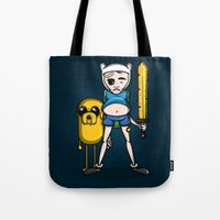 finn and jake Tote Bags featuring Finn & Jake by mebz art