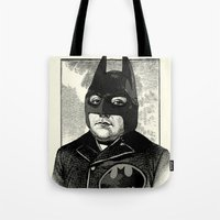 bat man Tote Bags featuring BAT MAN by DIVIDUS