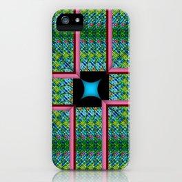 no. 341 green aqua pink red pattern iPhone Case