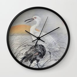 Cranes In Marsh - Digital Remastered Edition Wall Clock