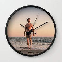 Man, Late Summer at Brighton Beach Wall Clock