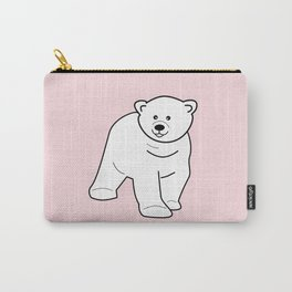 White bear on pink background Carry-All Pouch