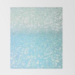 Mermaid Sea Foam Ocean Ombre Glitter Throw Blanket