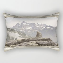 VINTAGE STONE MONUMENT AND MOUNT SHUKSAN Rectangular Pillow