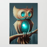 owl Canvas Prints featuring Night Owl by Chump Magic