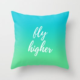 Fly Higher - Blue Green Ombre Throw Pillow