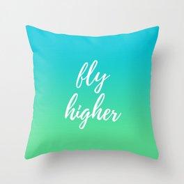 Fly Higher - Blue Green Ombre Throw Pillow