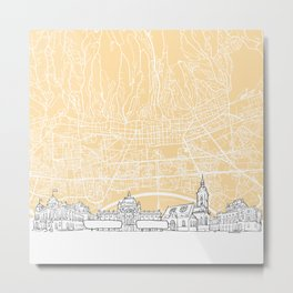 Zagreb Croatia Skyline Map Metal Print