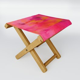 """""""Abstract brushstrokes in pastel pinks and solar orange"""" Folding Stool"""
