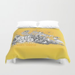 Kids World of Sunshine a Zentangle Illustration Duvet Cover