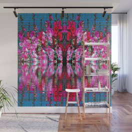 FUCHSIA PINK HOLLYHOCKS IN BLUE WATER REFLECTION Wall Mural