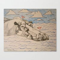 hippo Canvas Prints featuring Hippo by Caesarie