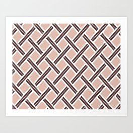 Modern Open Weave Pattern in Neutrals and Plums Art Print