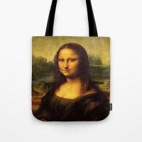 mona lisa Tote Bags featuring Mona Lisa by steinhauer studio