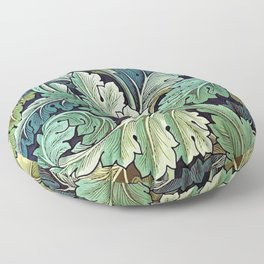 William Morris Herbaceous Italian Laurel Acanthus Textile Floral Leaf Print  Floor Pillow