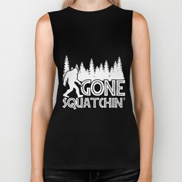 gone squatchin live in the moutain  camping Biker Tank