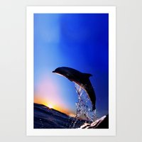 dolphin Art Prints featuring DOLPHIN by Ylenia Pizzetti