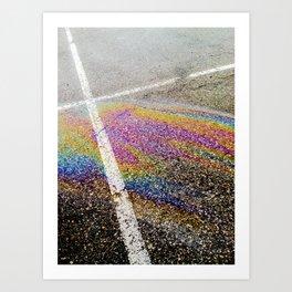 Blacktop rainbow Art Print