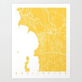 Burlington map yellow Art Print