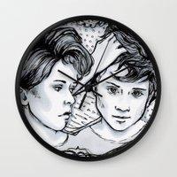 tegan and sara Wall Clocks featuring Tegan & Sara by JenHoney