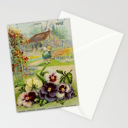 Seed Catalog Garden Floral Fruit Small Girl Watering Flowers Watercan Pansies Stationery Cards