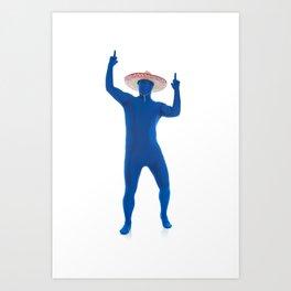 Humorous Man In Blue Bodysuit With Sombrero Art Print