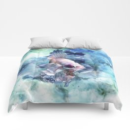 Watercolor Fish Comforters