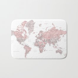 Dusty pink and grey detailed watercolor world map Bath Mat