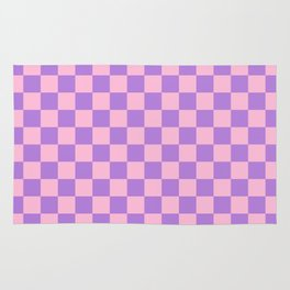 Cotton Candy Pink and Lavender Violet Checkerboard Rug