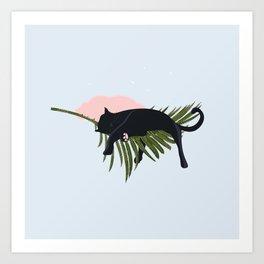 Sleeping Black Cat on Giant Palm Leaf Art Print