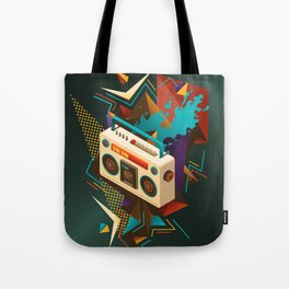 Bust Out The Jams Retro 80s Boombox Splash Tote Bag